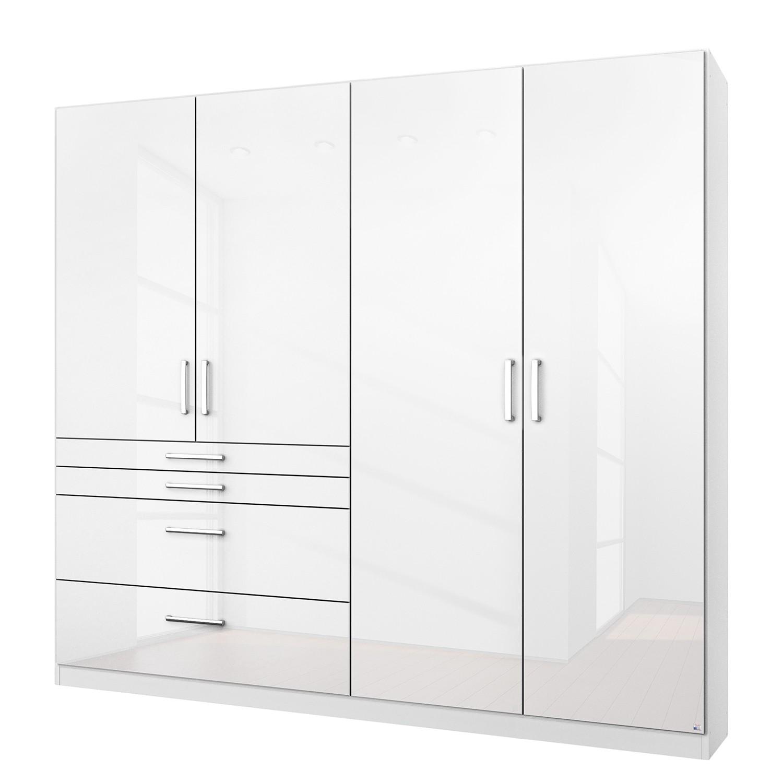 Armoire à portes battantes Homburg I - Blanc alpin brillant - 181 cm (4 portes) - Sans portes miroir
