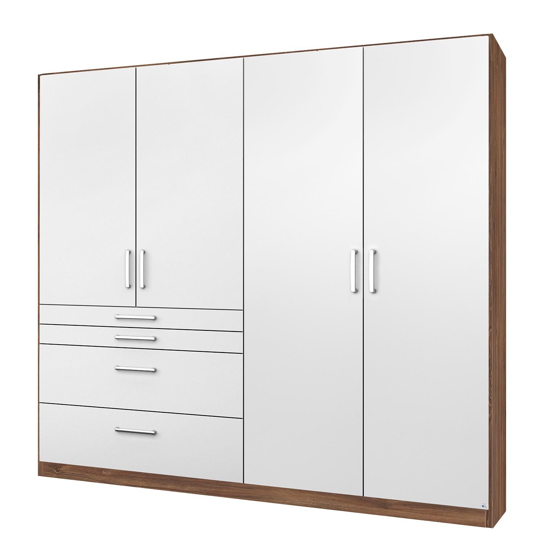 Armoire à portes battantes Homburg II - Blanc / Imitation chêne de Stirling - 181 cm (4 portes) - Sa