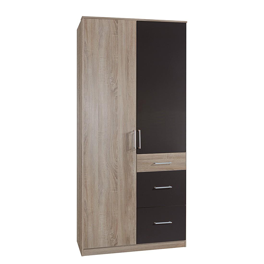 Armoire à portes pivotantes Julan I - Imitation chêne brut de sciage / Graphite - Sans portes miroir