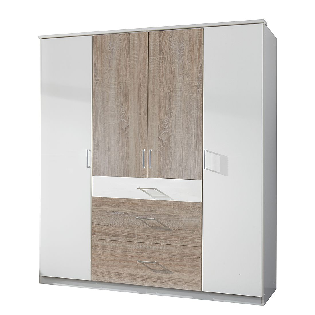 Draaideurkast Julan III - Alpinewit/Grof gezaagd eikenhouten look - Zonder spiegeldeuren, Oaklands