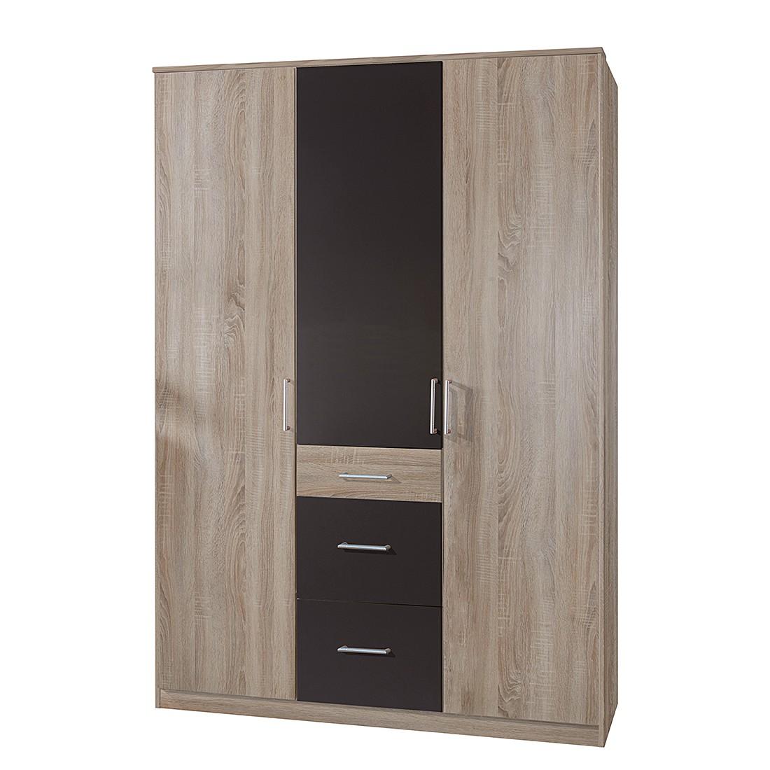 Armoire à portes pivotantes Julan II - Imitation chêne brut de sciage / Graphite - Sans portes miroi