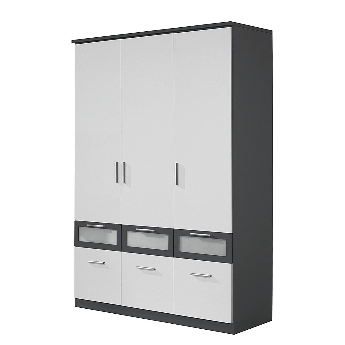Armoire à portes battantes Bochum-Extra - Blanc alpin / Gris métallisé - 136 cm - 3 portes, Rauch Pa