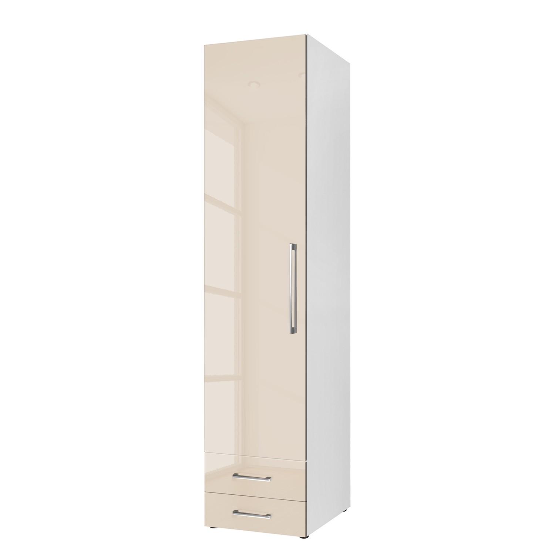 Armoire à portes battantes KSW - Couleur latte macchiato brillante - 50 cm (1 portes) - butoir à gau