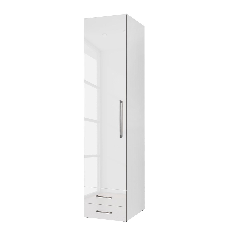 Armoire à portes battantes KSW - Blanc alpin brillant - 50 cm (1 portes) - butoir à gauche - 2 tiroi