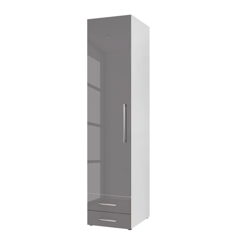 Armoire à portes battantes KSW - Gris lava brillant - 50 cm (1 portes) - butoir à gauche - 2 tiroirs