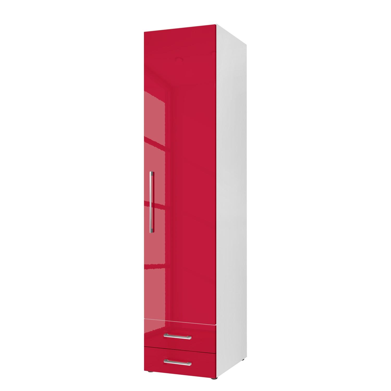 Home 24 - Armoire à portes battantes ksw - rubin brillant - 50 cm (1 portes) - butoir à droite - 2 tiroirs, wellemöbel