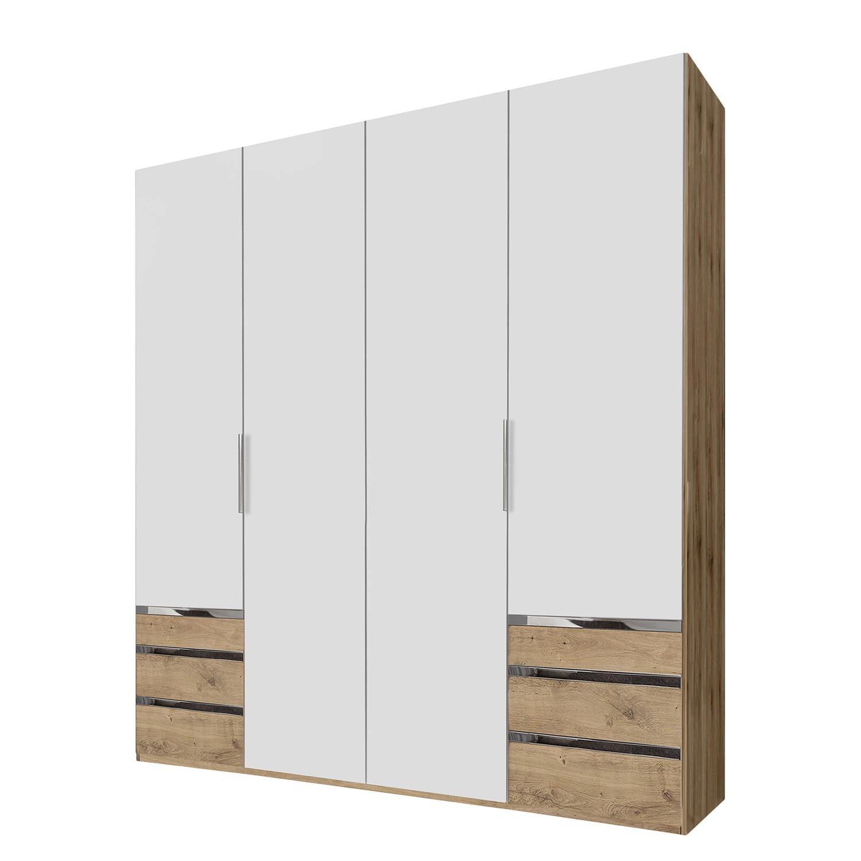 Armoire à portes battantes level 36A - Blanc alpin / Imitation chêne parqueté - 200 cm (4 portes) -