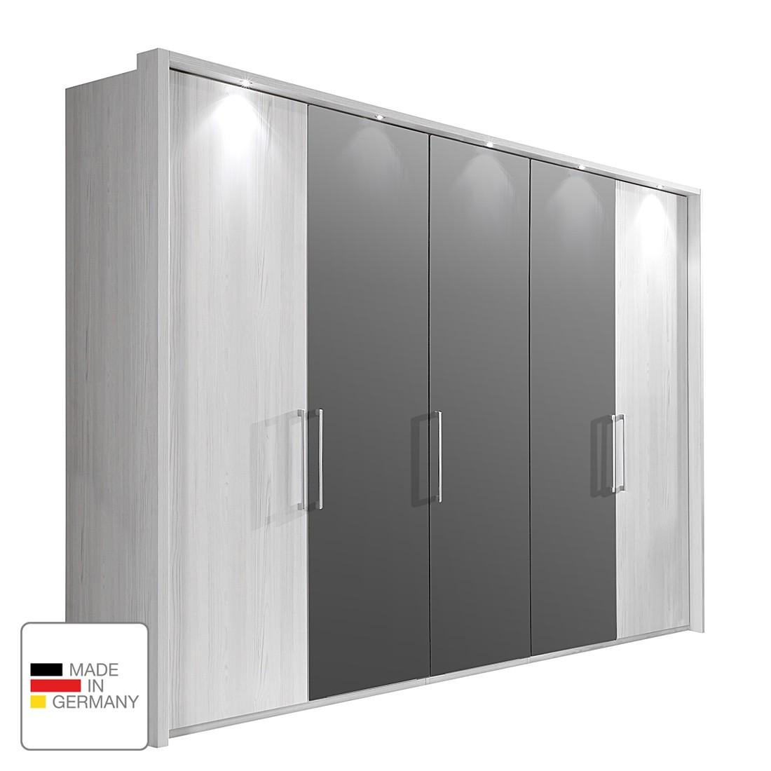 EEK A+, Armoire à portes battantes Lisbonne - Imitation mélèze polaire / Havanna - 200 cm (4 portes)