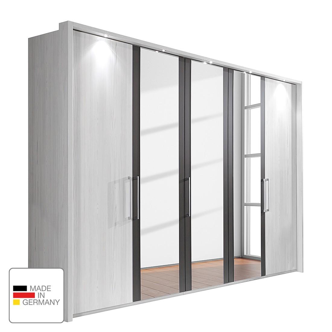 energie  A+, Draaideurkast Lissabon - Polar larikshouten look/Havanna - 300cm (6-deurs) - 2 spiegeldeuren - Met verlichte Passe-partout lijst, Wiemann