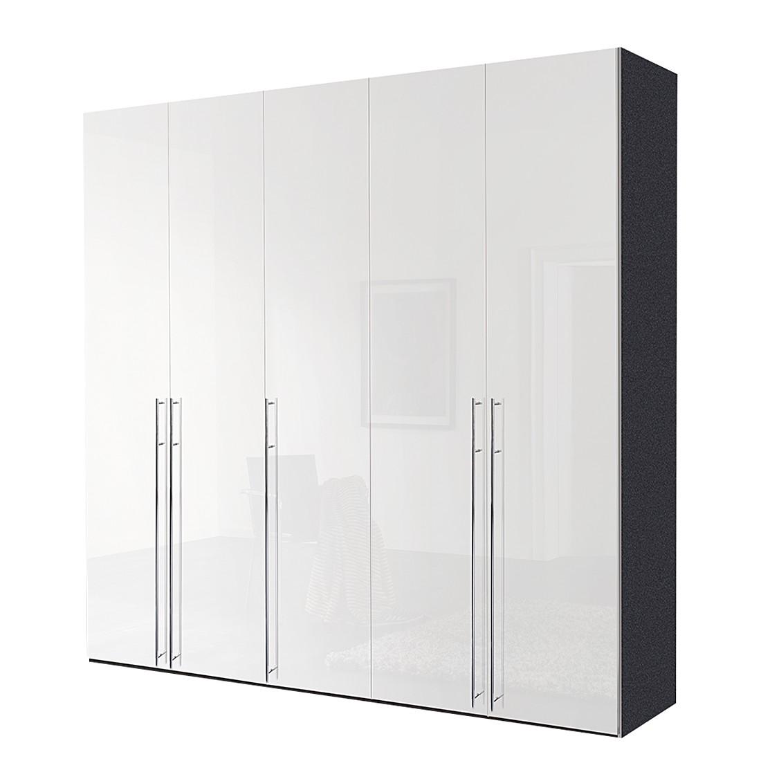 Draaideurkast Melva - grafietkleurig/wit gelakt - 250x216cm - 5-deurs, Express Möbel