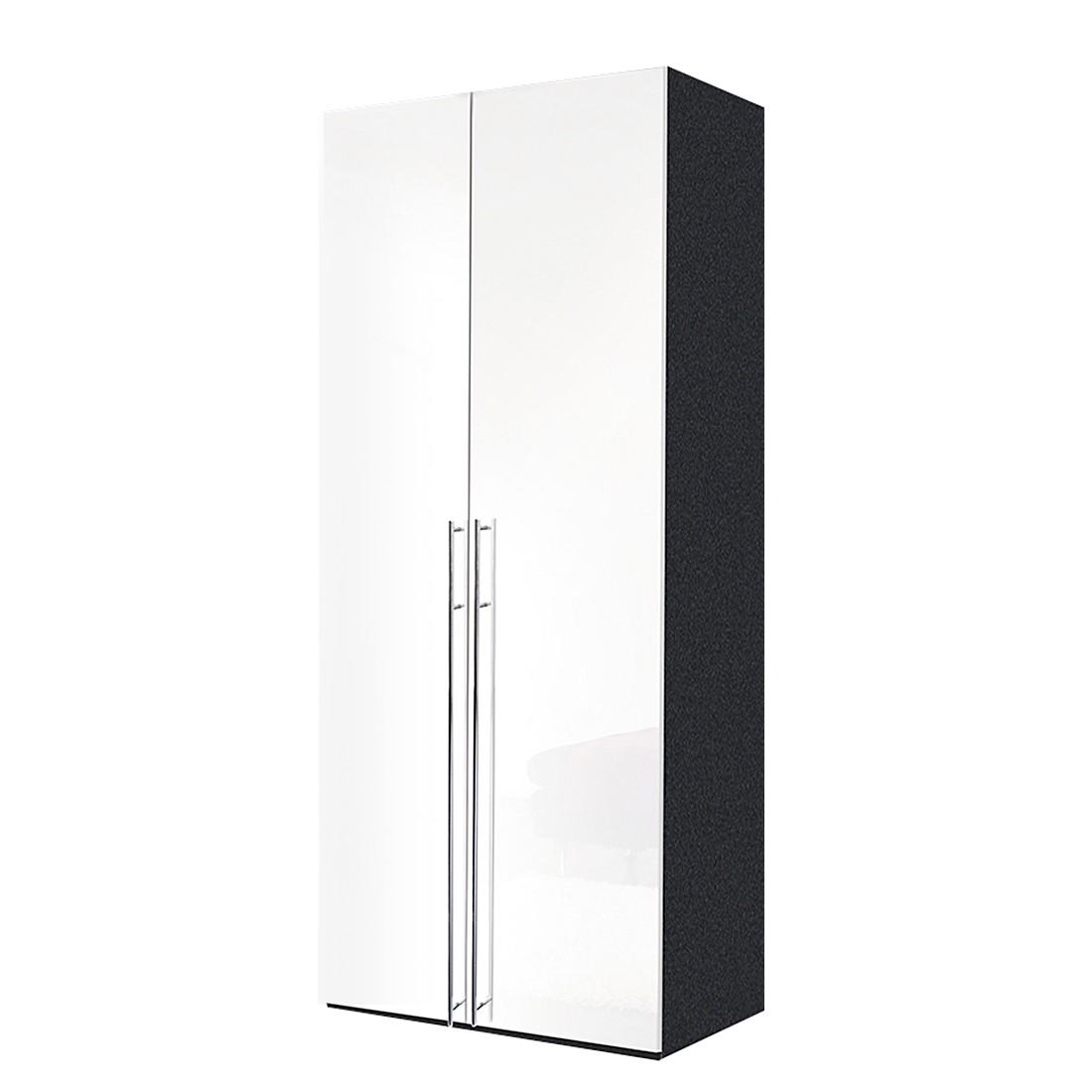 Armoire à portes battantes Brooklyn XI - Gris graphite / Vernis blanc - 100 cm (2 portes) - 216 cm,