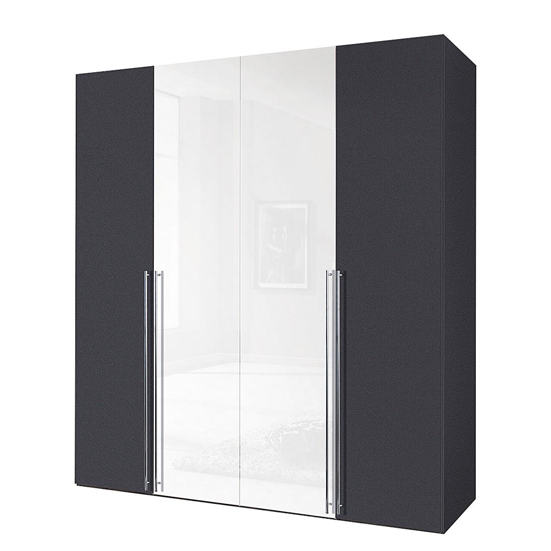 Armoire à portes battantes Brooklyn IX - Gris graphite / Vernis blanc - 100 cm (2 portes) - 216 cm,
