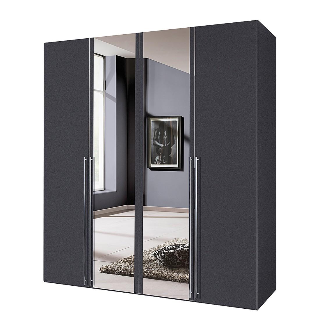 Armoire à portes battantes Brooklyn VII - Gris graphite / Miroir - 200 cm (4 portes) - 216 cm, Expre