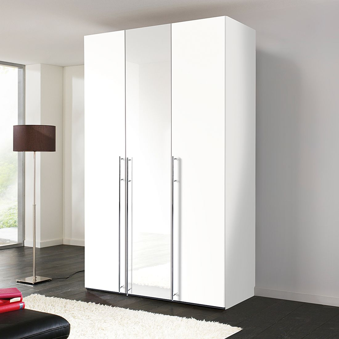 Armoire à portes battantes Brooklyn III - Blanc polaire / Blanc verni - 100 cm (2 portes) - 216 cm,
