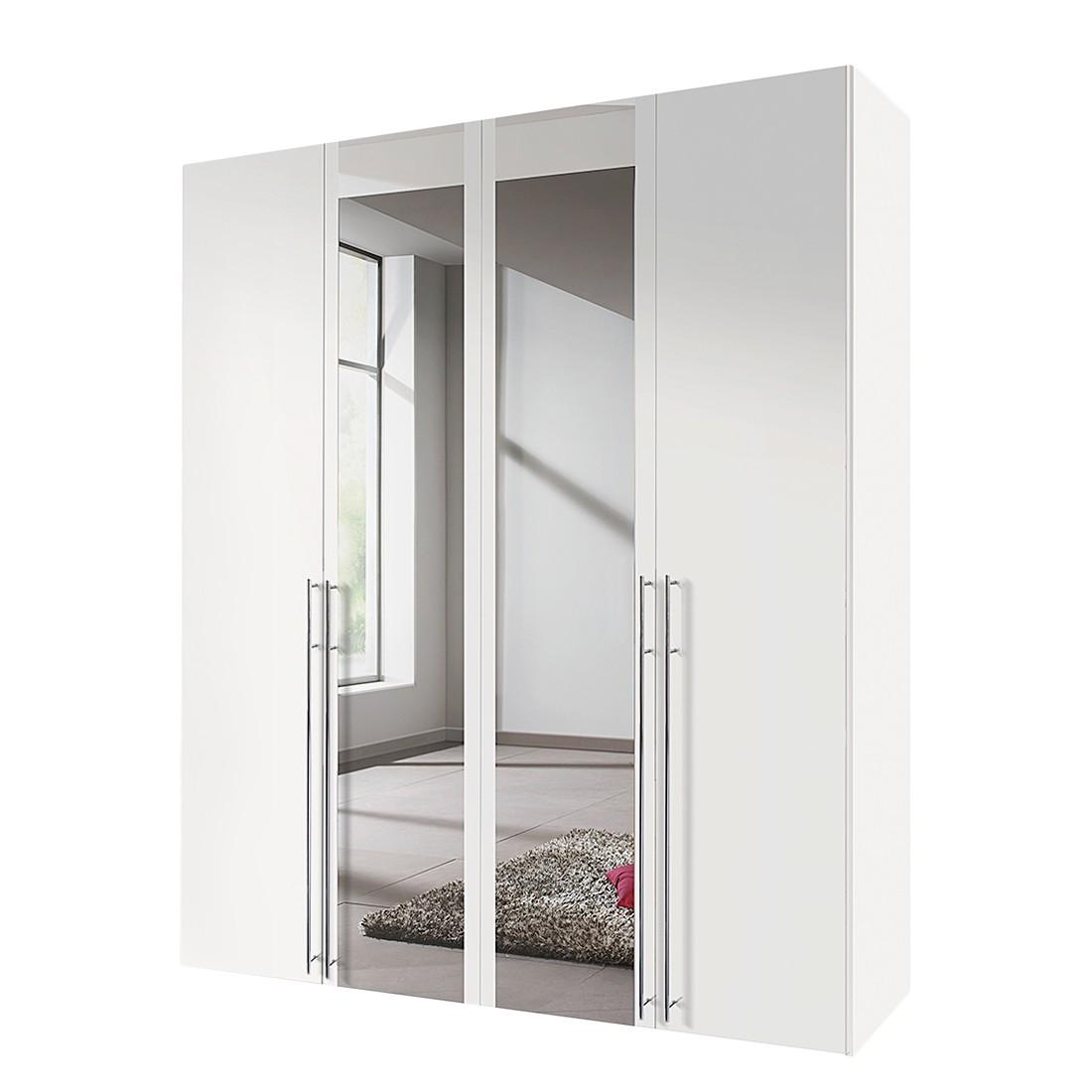 Draaideurkast Brooklyn II - wit/spiegel - 200cm (4-deurs) - 216cm, Express Möbel