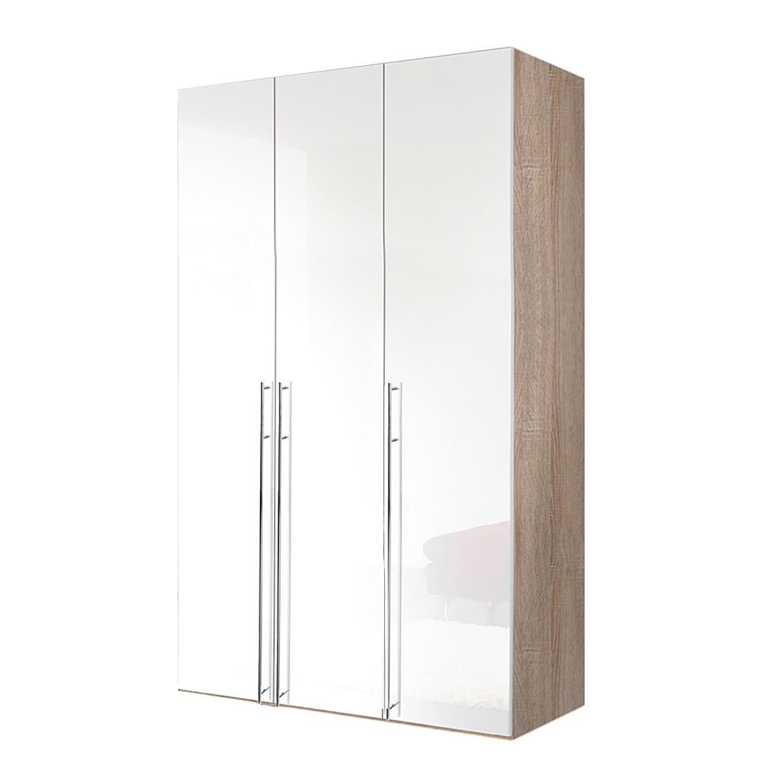 Armoire à portes battantes Brooklyn X - Imitation chêne de Sonoma / Vernis blanc - 150 cm (3 portes)