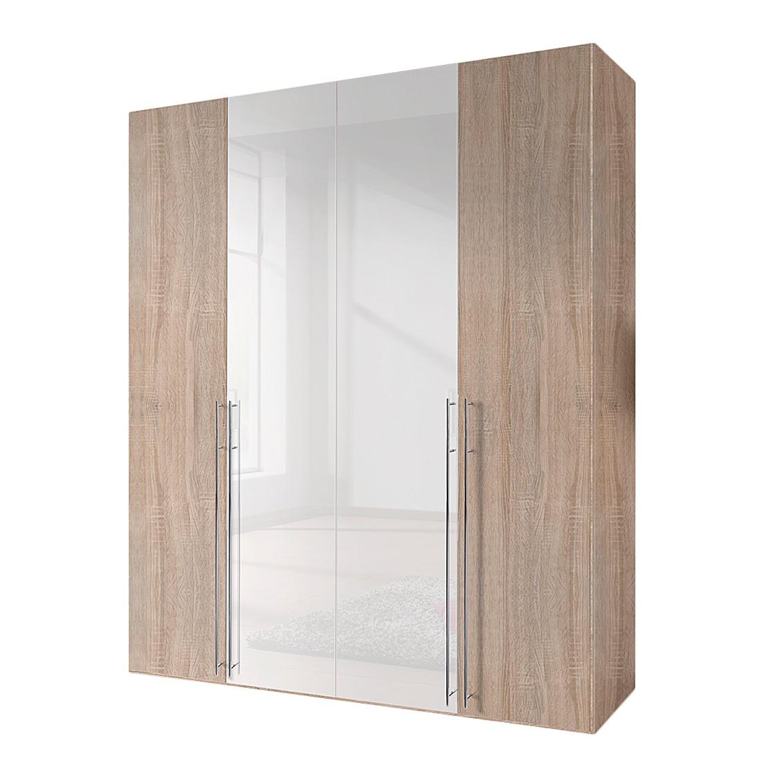 Armoire à portes battantes Brooklyn VIII - Imitation chêne de Sonoma / Vernis blanc - 100 cm (2 port