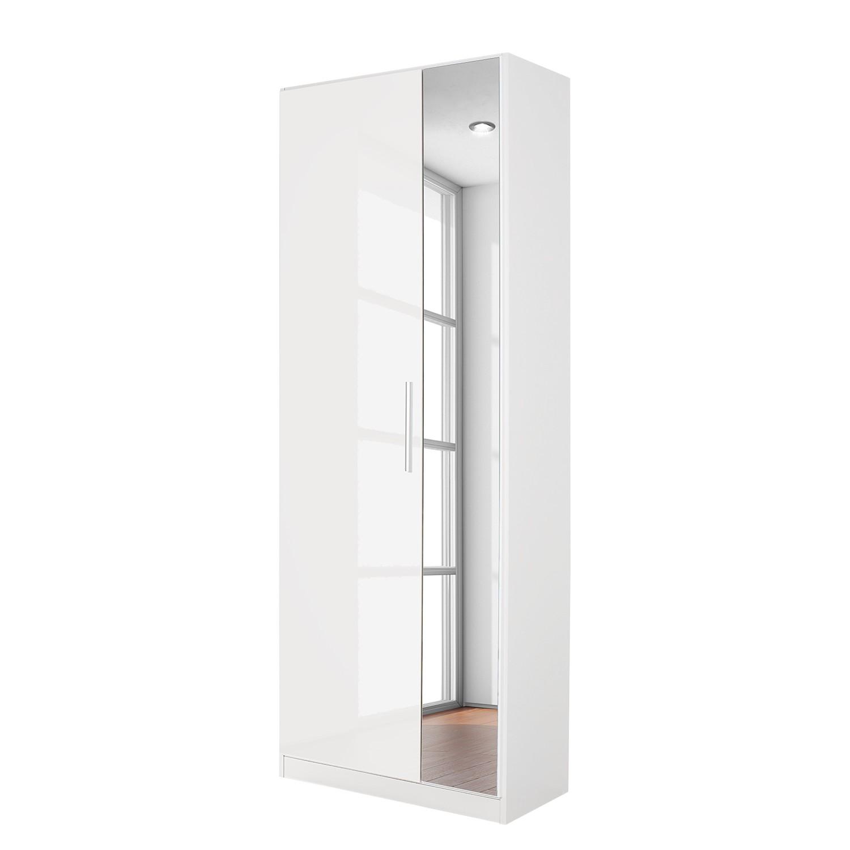 Armoire à portes pivotantes Minosa I - Blanc alpin / Blanc brillant - 91 cm (2 portes) - 69 cm (2 po