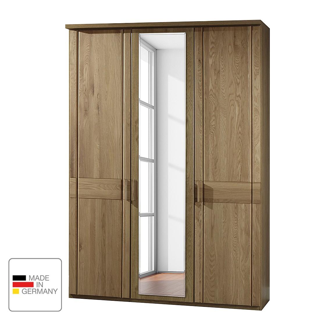 Draaideurkast Münster - deels massief eikenhout - Zonder verlichting - 250cm (5-deurs) - 3 spiegeldeuren - Met kroonlijst, Wiemann