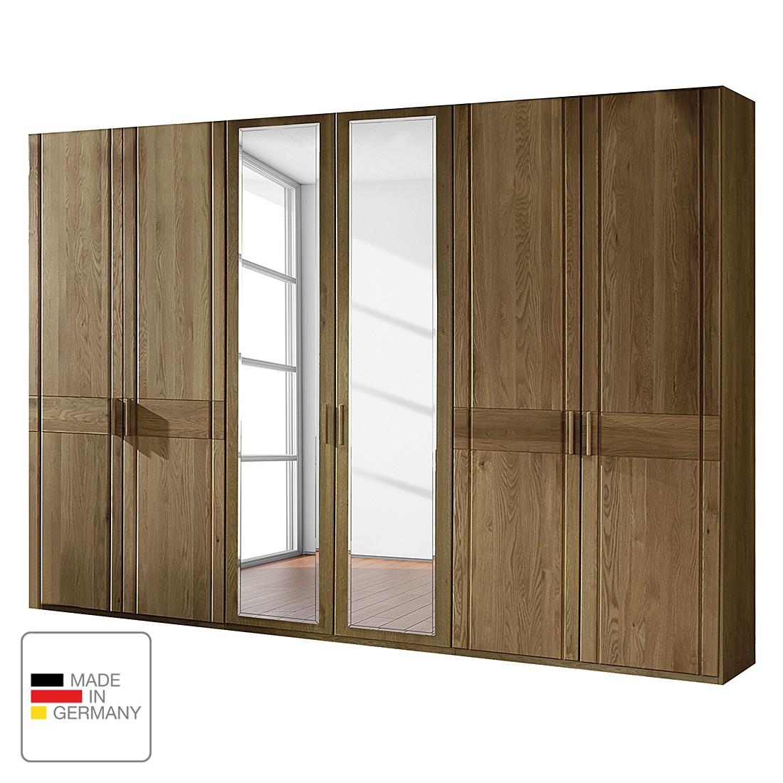 Draaideurkast Münster - deels massief eikenhout - Zonder verlichting - 250cm (5-deurs) - 3 spiegeldeuren - Zonder kroonlijst, Wiemann