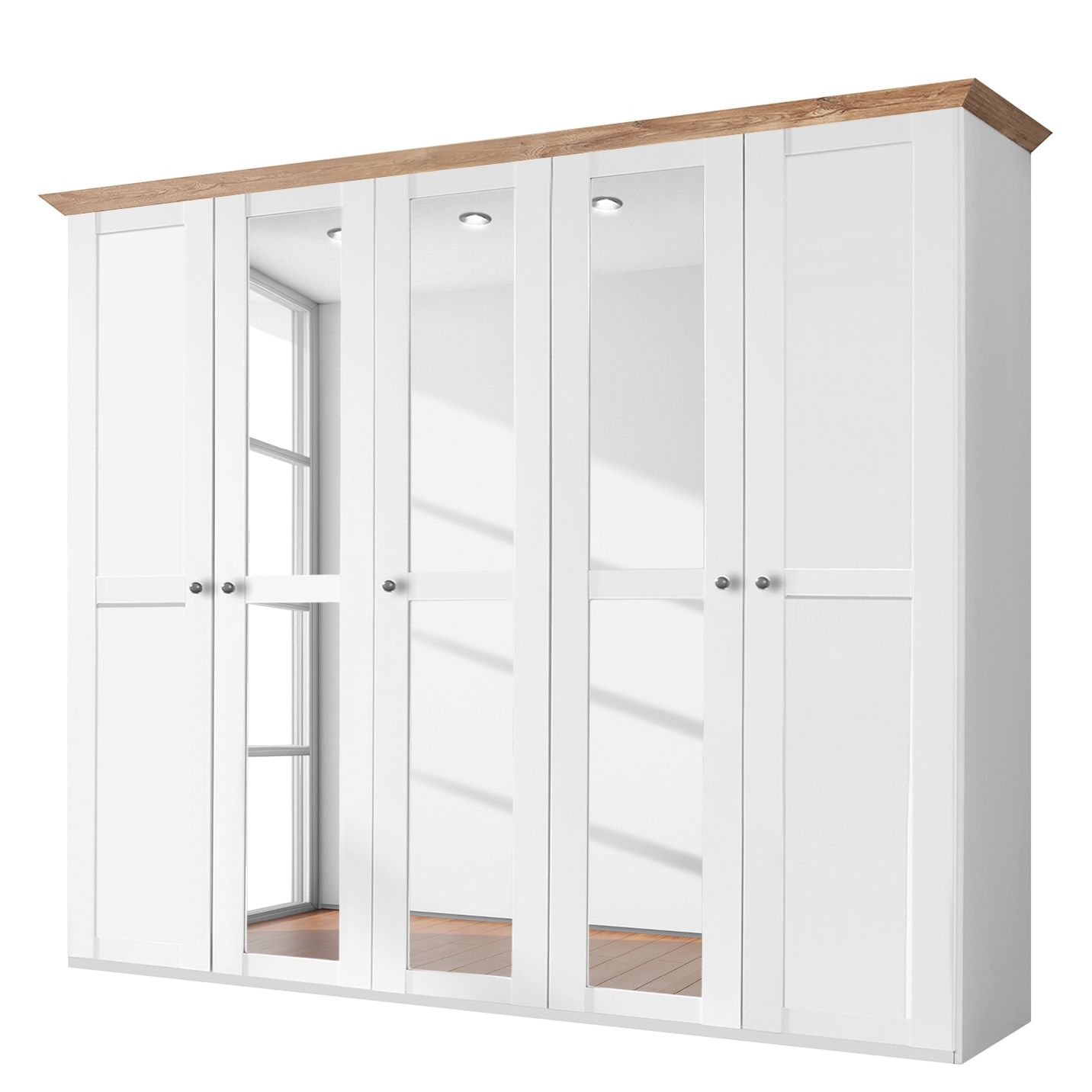 Armoire à portes battantes Oxford - Blanc alpin / Imitation planche de chêne - 225 cm (5 portes), Wi