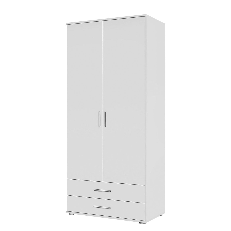 Armoire à portes pivotantes Rasant - Blanc alpin - 85 cm (2 portes) - 2 tiroirs - Sans portes miroir