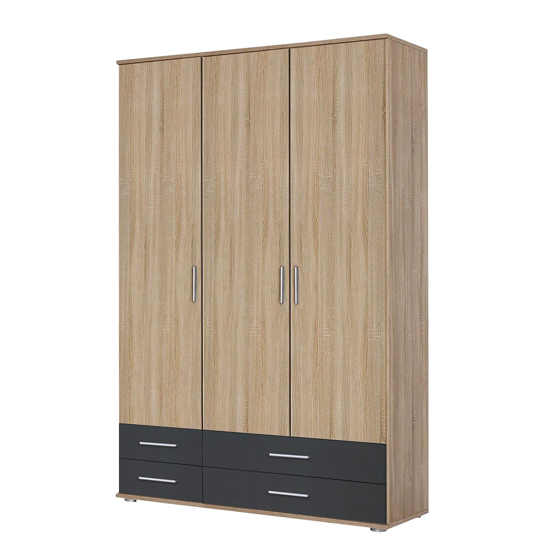 Armoire à portes battantes Rasant-Extra I - Anthracite / Imitation chêne de Sonoma - 127 cm (3 porte