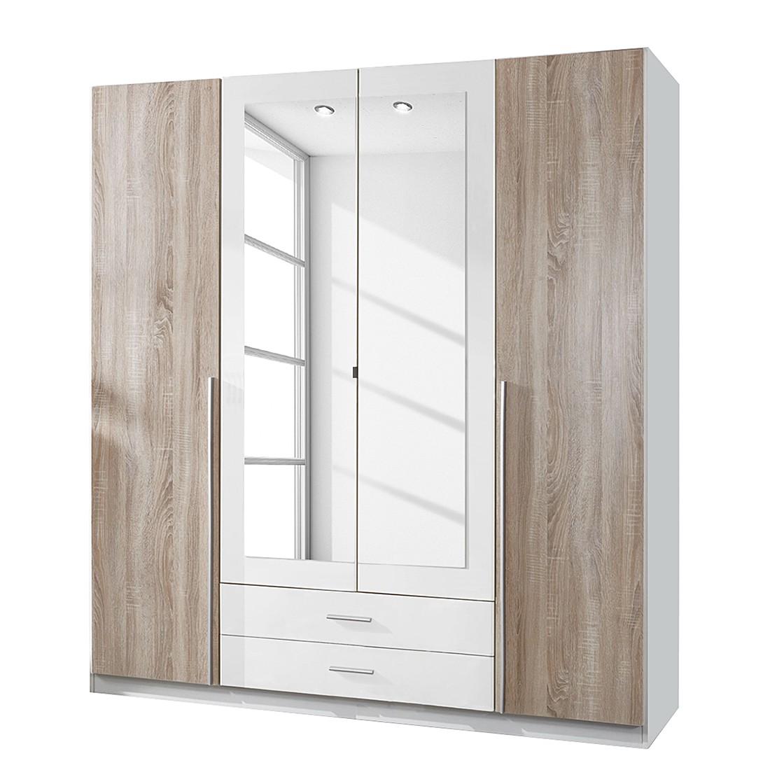 Armoire à vêtements Nuevo - Blanc alpin / Chêne brut de sciage - 180 cm (4 portes), Wimex