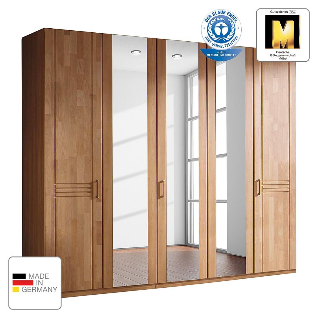 Armoire à portes battantes Savina - Aulne - 142 cm (3 portes) - 1 porte avec miroir - Sans cadre pas
