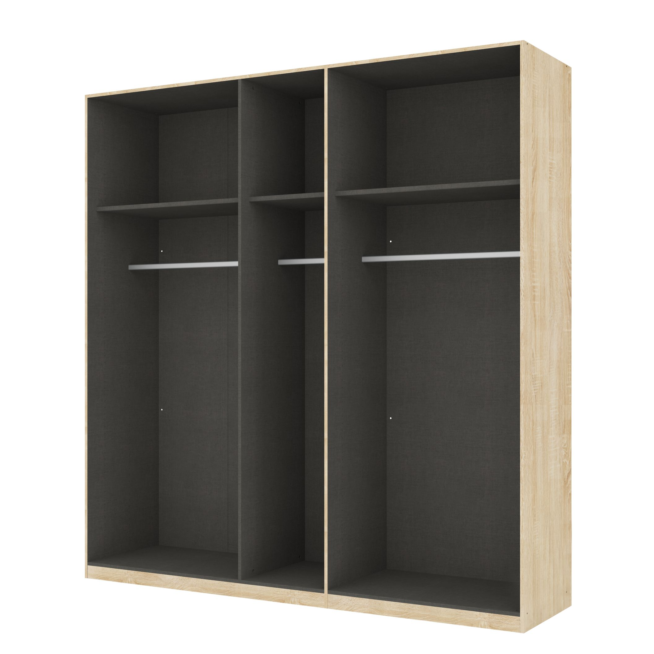 kleiderschrank sk p eiche sonoma dekor offen 225 cm 5 t rig 236 cm basic online bestellen. Black Bedroom Furniture Sets. Home Design Ideas