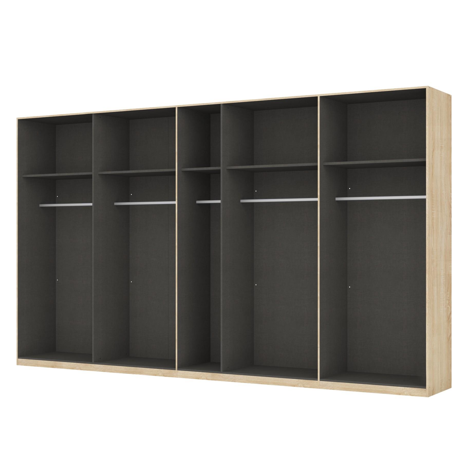 Kleiderschrank SKØP - Eiche Sonoma Dekor/ Offen - 405 cm (9-türig) - 236 cm - Basic