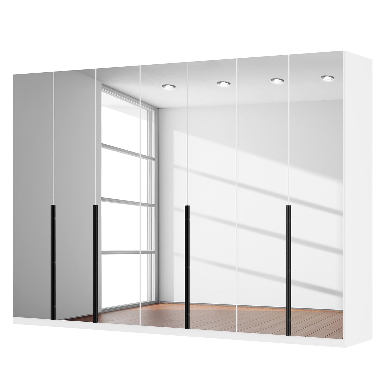 Armoire à portes battantes Skøp I - Blanc alpin / Miroir en cristal - 315 cm (7 portes) - 222 cm - B