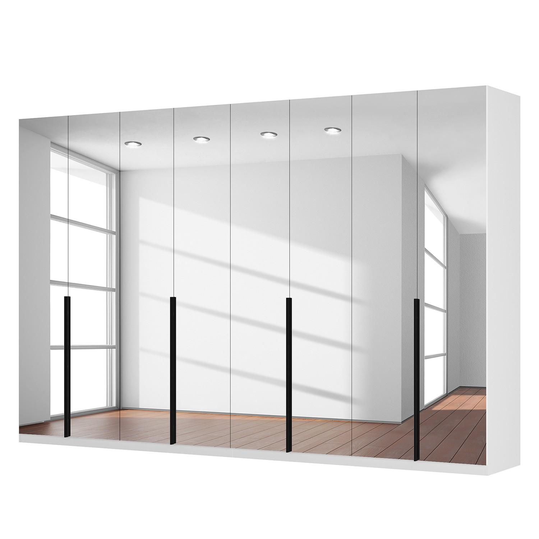 Drehtürenschrank SKØP I - Alpinweiß/ Kristallspiegel - 360 cm (8-türig) - 236 cm - Premium