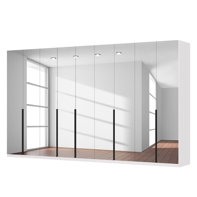Drehtürenschrank SKØP I - Alpinweiß/ Kristallspiegel - 405 cm (9-türig) - 236 cm - Basic
