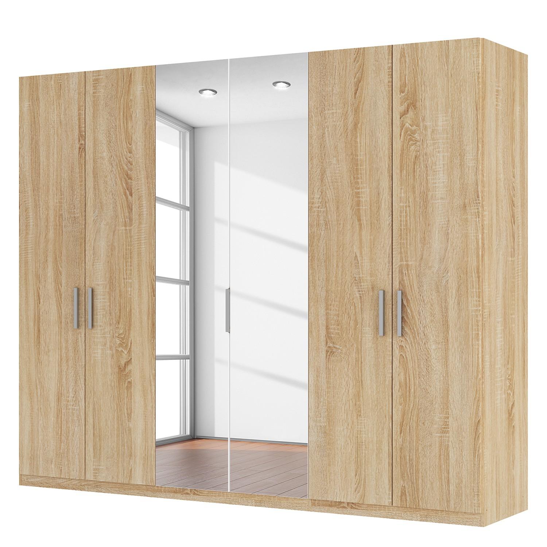 Draaideurkast Skøp I - Sonoma eikenhouten look/kristalspiegel - 270cm (6-deurs) - 222cm - Classic, SKØP