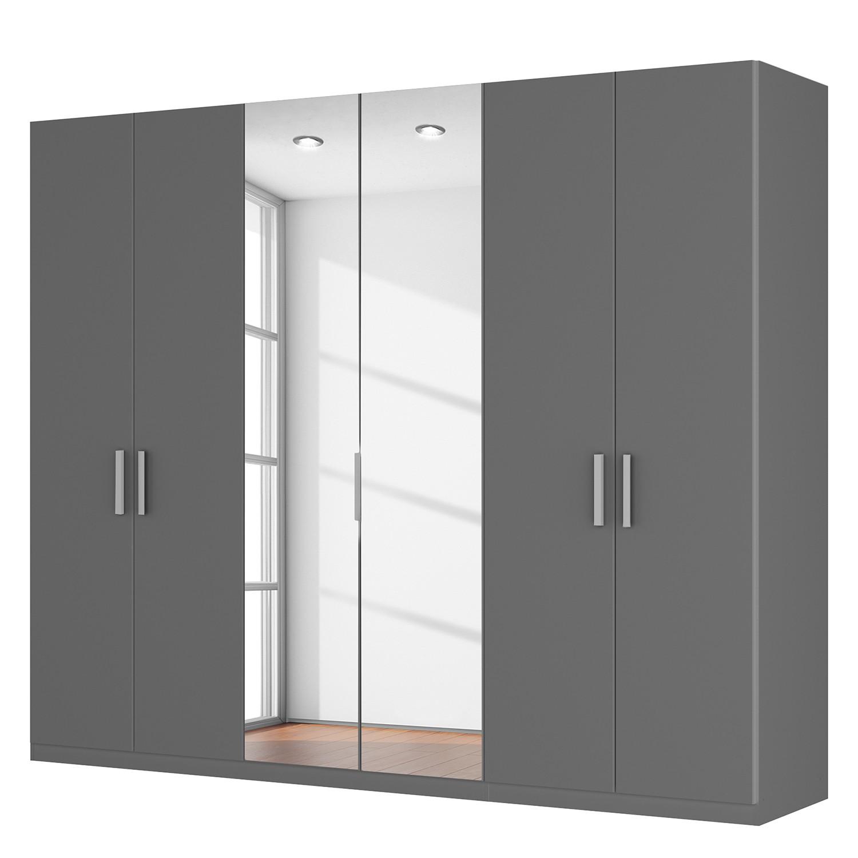 Draaideurkast Skøp I - grafietkleurig/kristalspiegel - 270cm (6-deurs) - 222cm - Comfort, SKØP