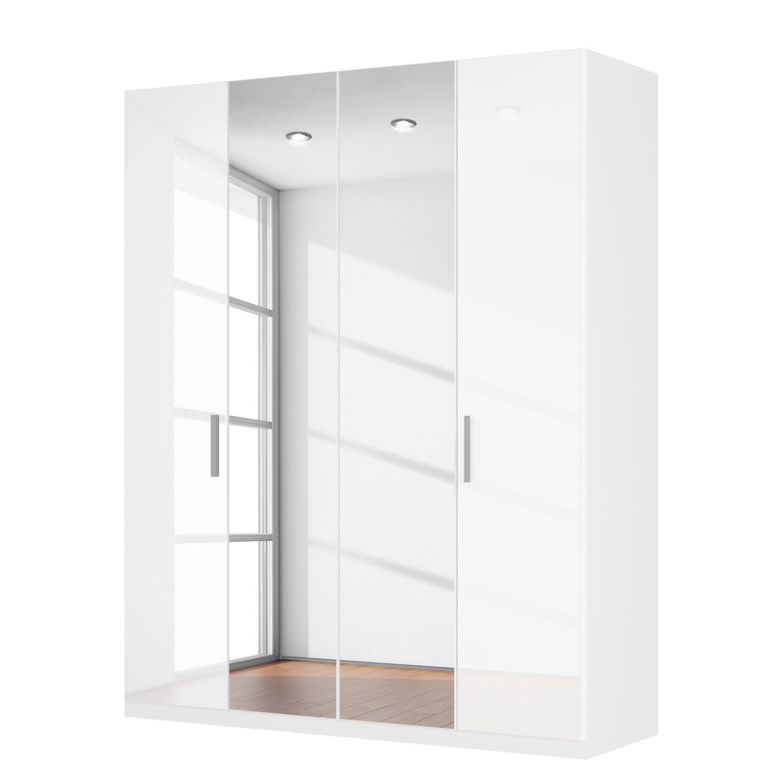 armoire portes battantes sk p i blanc brillant miroir en cristal. Black Bedroom Furniture Sets. Home Design Ideas
