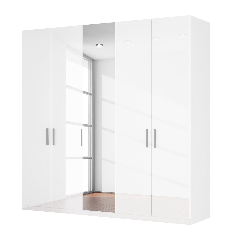Draaideurkast Skøp I - hoogglans wit/kristalspiegel - 225cm (5-deurs) - 222cm - Basic, SKØP