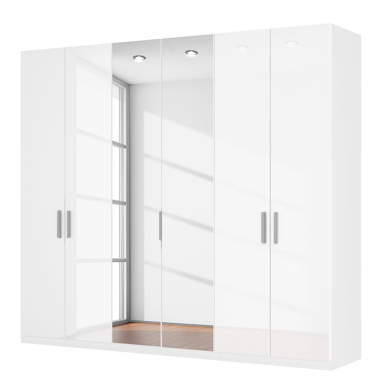 Draaideurkast Skøp I - hoogglans wit/kristalspiegel - 270cm (6-deurs) - 236cm - Basic, SKØP