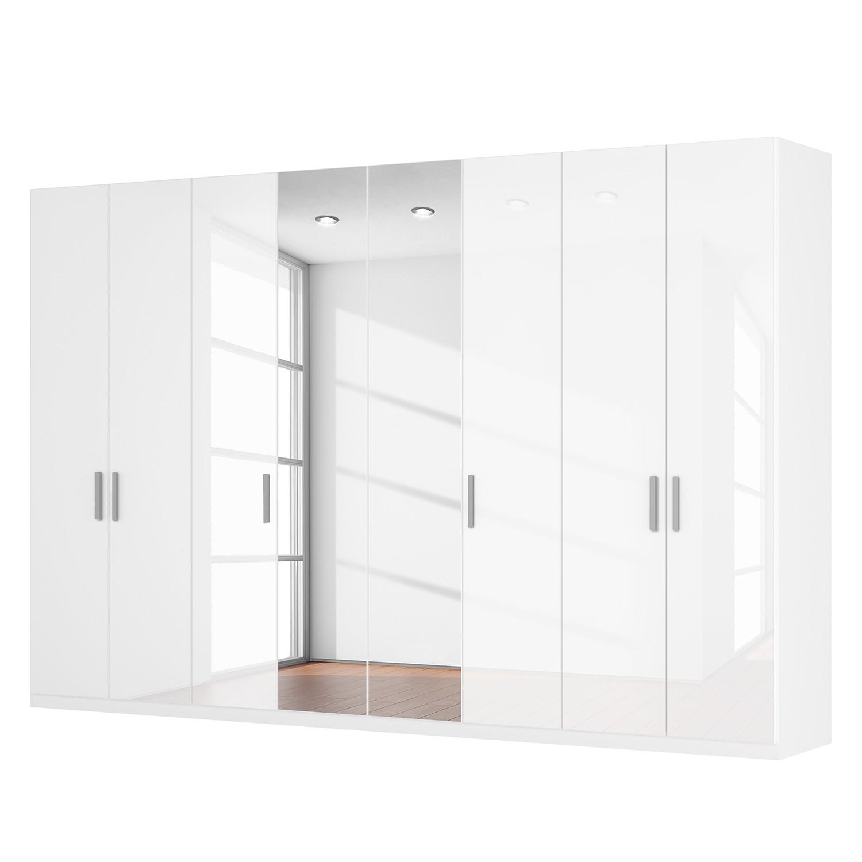 Draaideurkast Skøp I - hoogglans wit/kristalspiegel - 360cm (8-deurs) - 236cm - Basic, SKØP