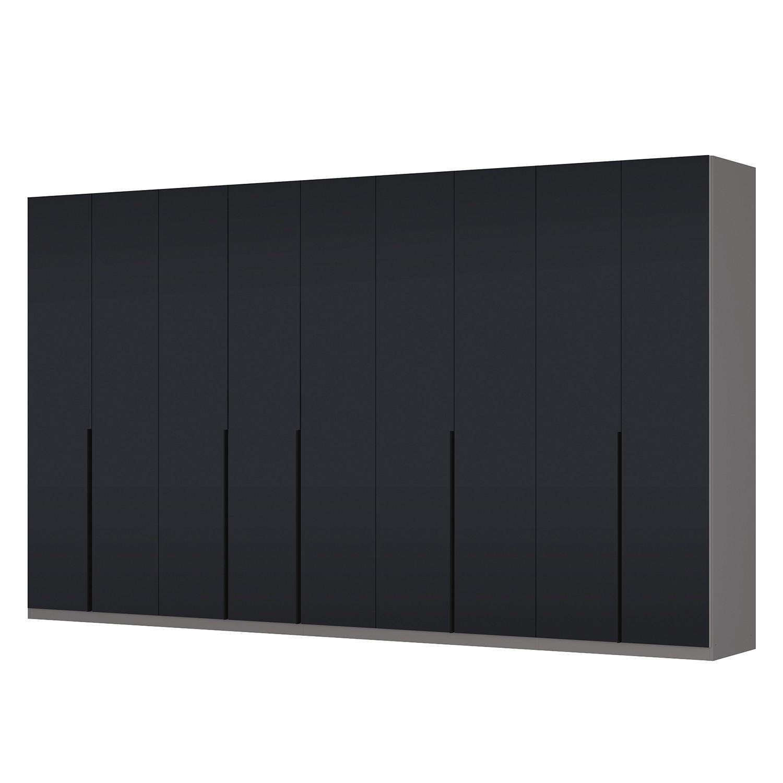 Drehtürenschrank SKØP I - Graphit / Mattglas Schwarz - 405 cm (9-türig) - 236 cm - Premium
