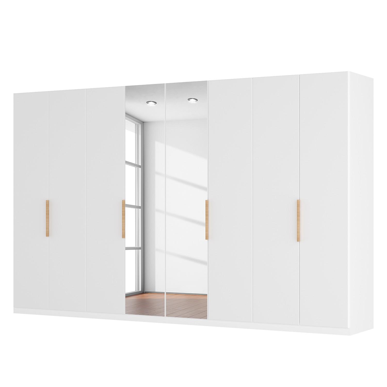 Drehtürenschrank SKØP I - Mattglas Weiß/ Kristallspiegel - 360 cm (8-türig) - 236 cm - Basic