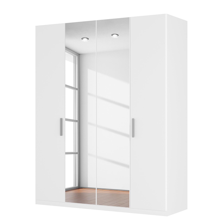 Armoire à portes battantes Skøp II - Blanc alpin / Miroir en cristal - 181 cm (4 portes) - 222 cm -