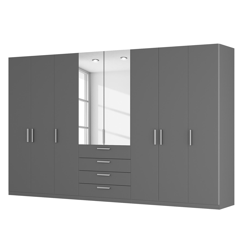 Armoire à portes battantes Skøp II - Graphite / Miroir en cristal - 360 cm (8 portes) - 222 cm - Bas