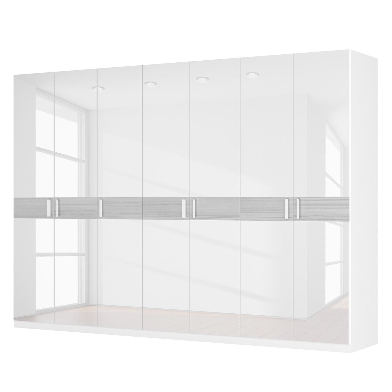 Drehtürenschrank SKØP II - Hochglanz Weiß/ Strukturholz Weiß - 315 cm (7-türig) - 222 cm - Basic