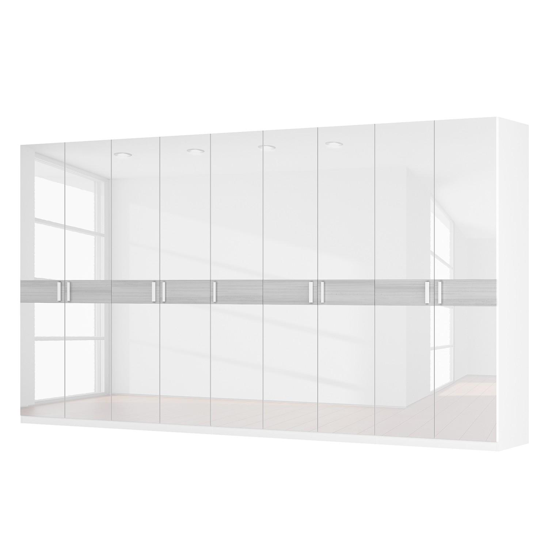 Drehtürenschrank SKØP II - Hochglanz Weiß/ Strukturholz Weiß - 405 cm (9-türig) - 222 cm - Basic