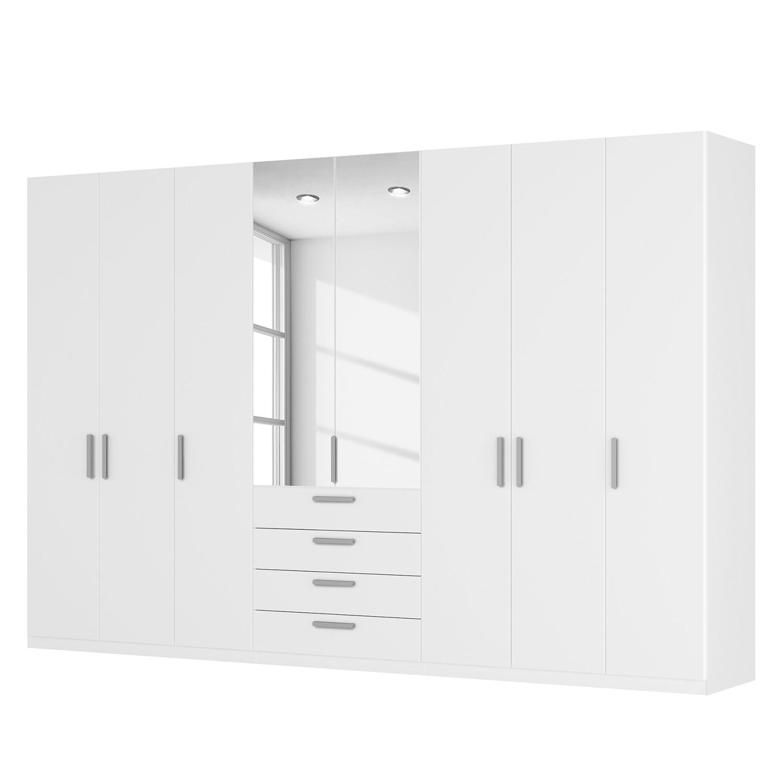 Drehtürenschrank SKØP III - Alpinweiß/ Kristallspiegel - 360 cm (8-türig) - 236 cm - Basic