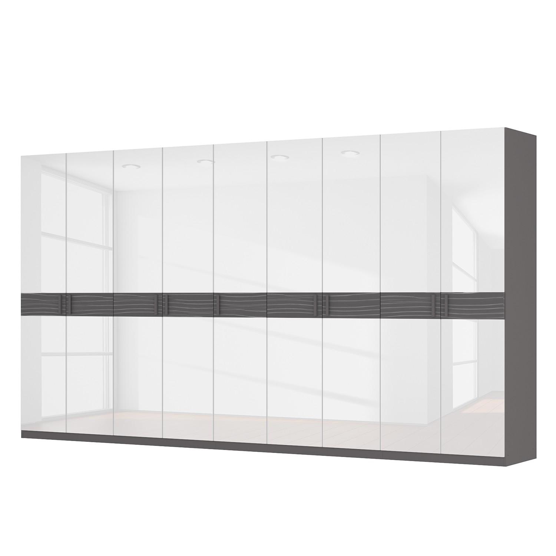 Draaideurkast Skøp III - hoogglans wit/grafietkleurig gestructureerd hout - 405cm (9-deurs) - 222cm - Basic, SKØP