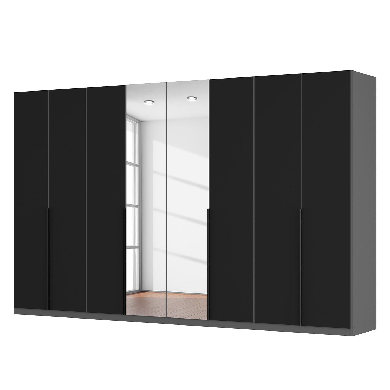 Drehtürenschrank SKØP - Mattglas Schwarz/ Kristallspiegel - 360 cm (8-türig) - 236 cm - Basic