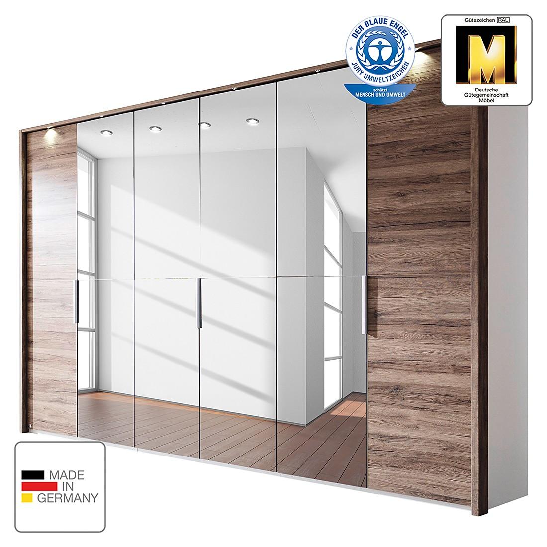 energie  A+, Draaideurkast Vadora - donkere San Remo eikenhouten look - 151cm (3-deurs) - Met verlichte Passe-partout lijst, Rauch Steffen